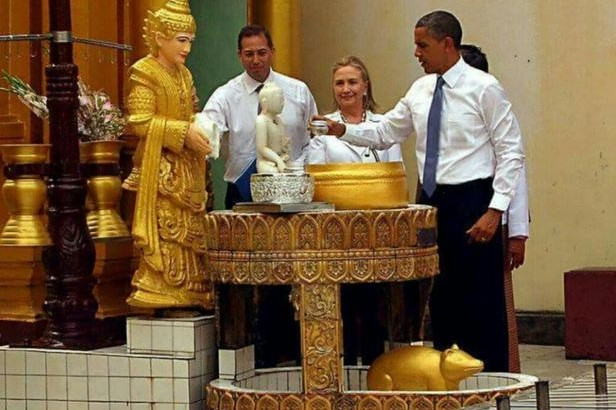 President Obama performs ritual in Myanmar temple.